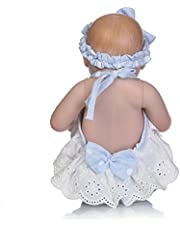 Decdeal 10inch 25cm Reborn Baby Doll Girl Full Silicone Sleeping Doll Bath Toy Realitic Lifelike Blue Dot