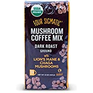 Four Sigmatic Mushroom Ground Coffee, USDA Organic and Fair Trade Coffee with Chaga and Lion's Mane mushrooms Vegan, Paleo, 12 Ounce, Dark roast