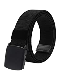 "Men's Elastic Stretch Belt, Military Tactical Belts Breathable Canvas Web Belt for Men & Women with No Metal Plastic Buckle for Work Outdoor Sports, Adjustable for Pants Shorts Jeans Below 46"" (Black)"