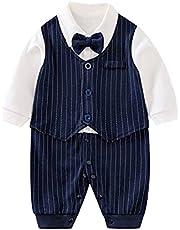 OFIMAN Baby Boys Formal Gentleman Suit Newborn Tuxedo Romper Overall Clothes Infant One-Piece Long Sleeve Onesies
