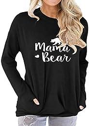 Freemale Womens Mama Bear Sweatshirt Long Sleeve Pullover Casual Pocket Blouses