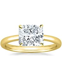 1/2 - 2 Carat GIA Certified 18K Yellow Gold Solitaire Cushion Cut Diamond Engagement Ring (D-E Color, VS1-VS2 Clarity)