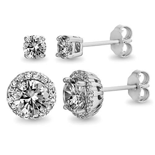 Devin Rose Sterling Silver 3-1/2 Cttw 2 Pair 4mm & 7mm Stud and Halo Earrings Set for Women made With Swarovski Crystals