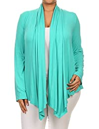 2LUV Plus Women's Long Sleeve Relaxed Fit Open Front Cardigan Draped Neck