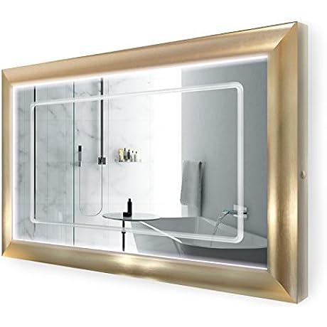 LED Lighted 48 Inch X 30 Inch Bathroom Gold Frame Mirror W Defogger
