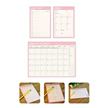 Chris-Wang Daily / Weekly / Monthly Planner Organizer Pads Schedule Goals - Easy to Tear off Sheets - Track Chores, Tasks and Appointments - Pack of 3 (Pink)