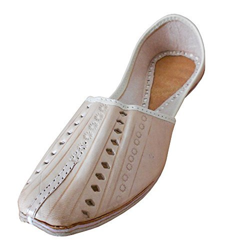 KALRA Creations Herren Traditionelle indische Leder Designer Designer Designer Schuhe Cremefarben a00196
