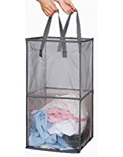 Mesh Popup Laundry Hamper with Handles,Portable Durable Collapsible Storage Easy Open. Folding Pop-Up Clothes Hampers Basket Foldable Great for The Kids Room College Dorm or Travel (Grey,Double-Layer)