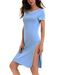 Yulee Women's V-Neck Short Sleeve Nightgown Long Nightshirts Sleepwear S-XXL