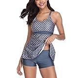 High&Fun Womens Swimsuits Two Piece Tankini Top for Women Strappy Swimwear Plus Size
