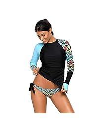 ZHENGUAN Women Rashguard Shirt Vibrant Print Side Ties Tankini Swimsuit Athletic Swimwear