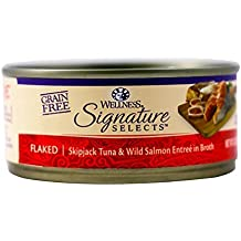 Wellness Signature Selects Natural Canned Grain Free Wet Cat Food, Flaked Tuna & Wild Salmon, 5.3-Ounce Can (Pack of 24)