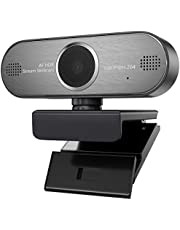 Webcam 1080P HD Pro Stream Video Autofokus Streaming, Aufnahme, Conferencing Digitale Webkamera HDR Video mit Mic USB Widescreen für PC, Laptops und Desktop