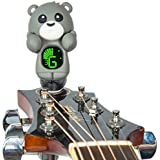 Guitar Tuner Clip-On Cartoon Bear with LCD Display for All Instruments with Bass, Ukulele,Guitar & Violin (gray)