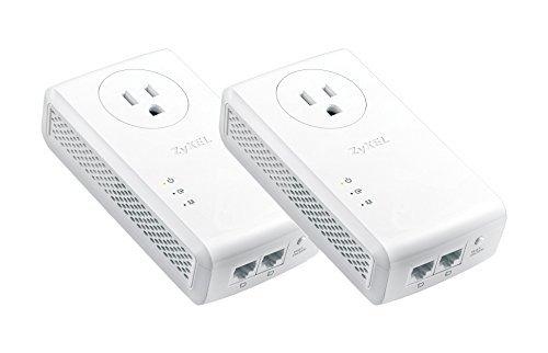 ZyXEL PLA5456KIT 1800 Mbps* AV2000 HomePlug AV2 Powerline 2-Port Gigabit Pass-Thru Ethernet Adapter 2-Pack Kit by ZyXEL
