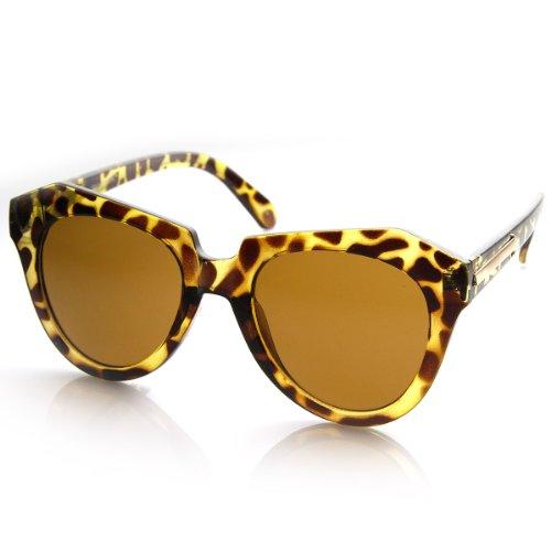 zeroUV - Modern Thick Cat Eye / Horn Rimmed Cross Sunglasses Edgy Retro Style Eyewear (Yellow - Modern Cat Eye Sunglasses