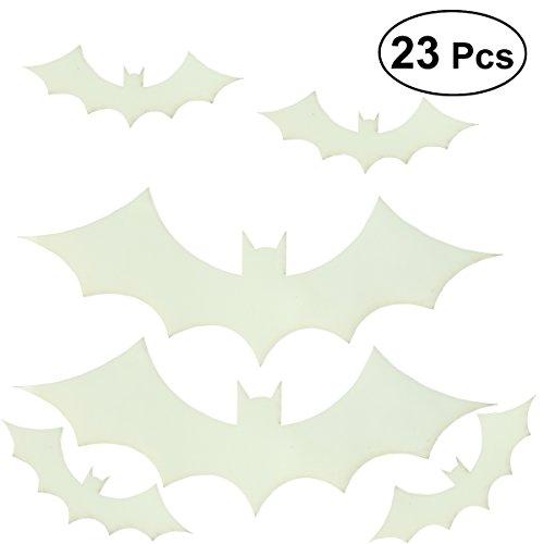 BESTOYARD 23PCS Wall Sticker Decorations Glow in The Dark Spooky Sticker Wall Paper for Halloween Party Kids Home Room Decoration(bat)]()