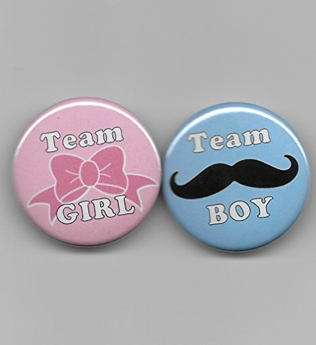 (Team Boy Girl Blue Mustache Pink Hair Bow Gender Reveal Baby Shower Party Favors Pin Back Buttons Round Pinback 1-1/2