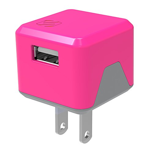 SCOSCHE USBH121PK SuperCube Flip 12W Single USB Port Wall Charger for ALL USB Devices - Pink