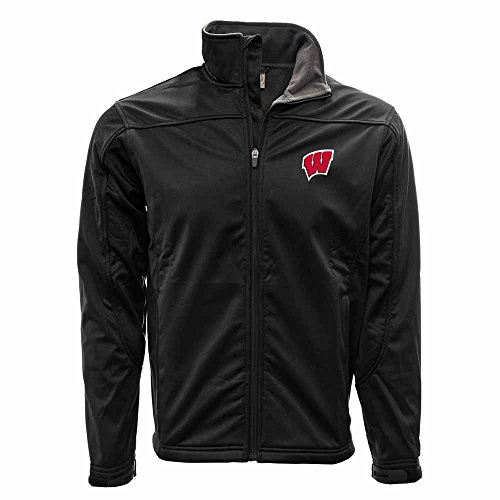 (Levelwear NCAA Wisconsin Badgers Men's Cyrius Full Logo Embroidery Jacket, Small, Black)