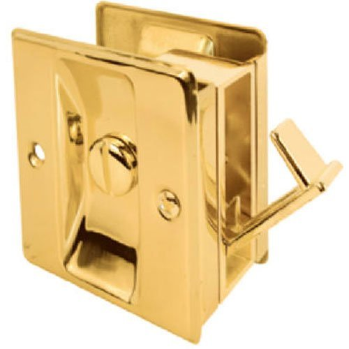 Slide-Co 161495 Pocket Door Privacy Lock with Pull, Polished Brass