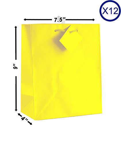 12-PC Solid Color Gift Bags, Matt Laminated, Yellow Color