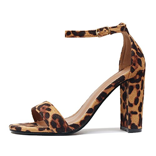 Leopard Platforms - Guilty Shoes Comfort Suede One Band Open Toe - Sexy Ankle Strap Buckle - Dress Party Chunky Heel Heeled-Sandas, Leopard Suede, 6.5