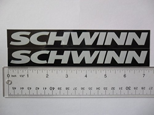 "Schwinn 7"" x1""white on black Vinyl decal weather proof 2 bike stickers many colors"