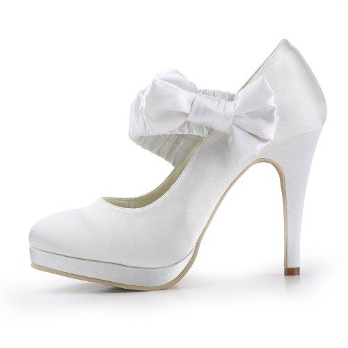 702cfe18 ElegantPark EP11119-PF Mujer Punta Rotonda Tacón de Aguja Satén Boda  Zapatos de Novia Marfil ...