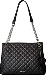 Add a touch of elegance to your handbag collection with the Nine West® Dielle Jetset Satchel. Faux-leather construction in a quilt design. Dual shoulder straps with chain detail. Magnetic snap closure. Exterior boasts brand detail and a deta...