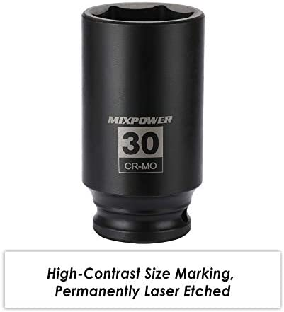 "MIXPOWER 1/2"" Drive Deep Impact Socket, CR-MO, 30mm, METRIC, 6 Point, Axle Nut Impact Grade Socket for Easy Removal"