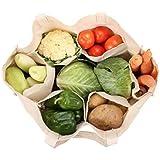VITARA Organics Cotton Eco Vegetable Bag with 6 Pockets(White)