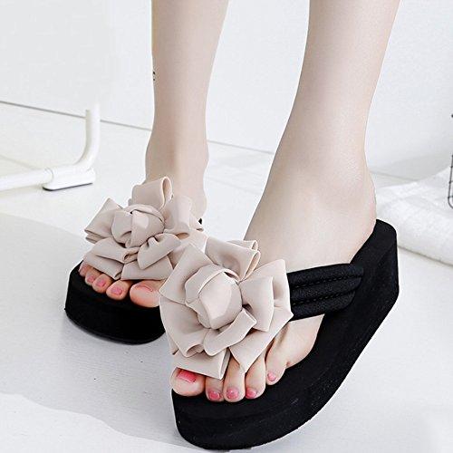 Cómodo Fuera de la palabra zapatillas Verano femenino resbaladizo con zapatillas Flores dulces salvajes zapatillas frescas Zapatos gruesos de la playa de la manera del fondo Pie y zapatillas (5 colore B