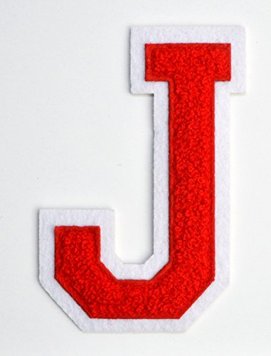 Varsity Letter Patches - Red Embroidered Chenille Letterman Patch - 4 1/2 inch Iron-On Letter Initials (Red, Letter J Patch)