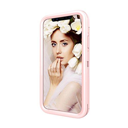 iPhone X Funda, FindaGift Soft TPU + PC híbrido A prueba de choques Estuche de teléfono con espejo y ranuras para tarjetas Caja del teléfono de las muchachas para iPhone X Oro rosa Oro rosa