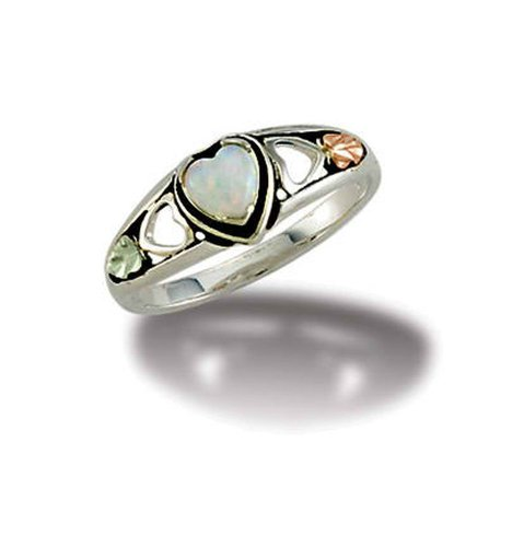Landstroms Ladies Black Hills Silver Wedding Band with 12k Gold Leaves - MRLLR3046