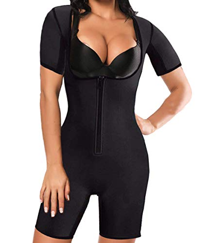 Topeller Women's Sauna Suit Shapewear for Weight Loss Sweat Body Shaper Slimming Neoprene Waist Trainer Bodysuit with Sleeve Black