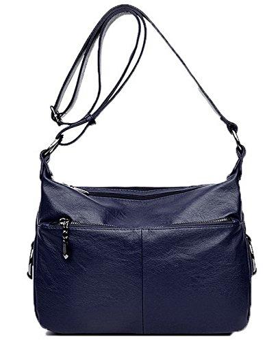ROPBL180849 Odomolor Burdeos Cremalleras Casual Pantalón Azuloscuro Mujeres cruzados Moda Pu Bolsos 66qTOAw