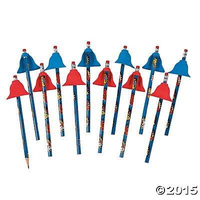Fun Express Superhero Pencils with Eraser Capes - 1 Dozen
