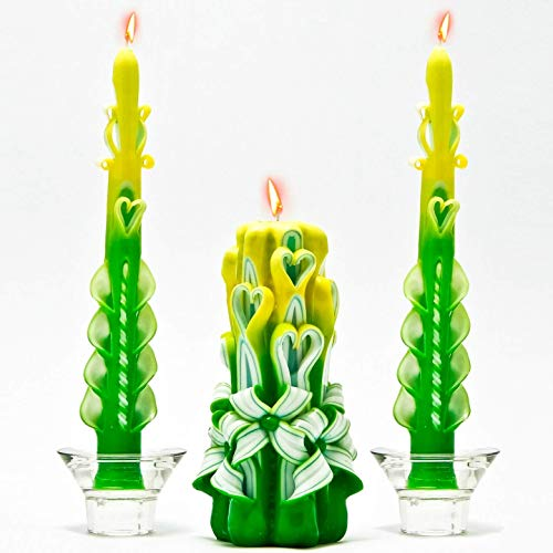 (Green Yellow and White Carved Candles, Taper Carved Candles, Set Of Candle Rings, Small Unity Candle, Stripe Taper Candles, Hand Carved Rainbow Wedding Centerpiece by CANDLES-WORLD)