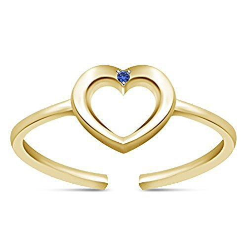 EternalDia 925 Sterling Silver Simulated D/VVS1 Diamond Heart Adjustable Toe Ring For Womens by EternalDia