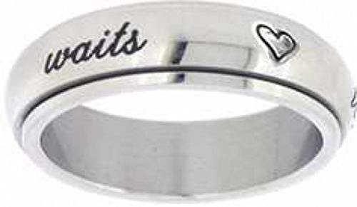 """Solid Rock Jewelry STAINLESS STEEL CURSIVE """"true love waits"""" WITH HEARTS SPIN RING STYLE 389-SIZE 8 from Solid Rock Jewelry"""
