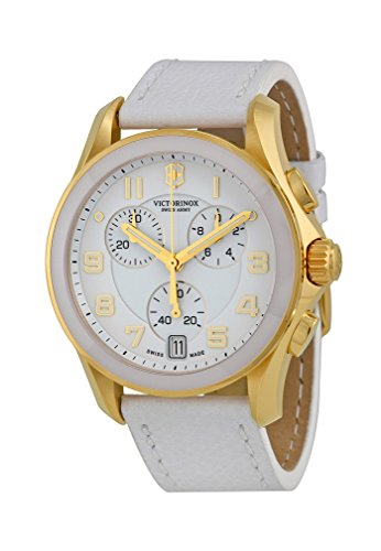 Victorinox Women's 241511 Gold-Tone Accented White Watch with Leather Band