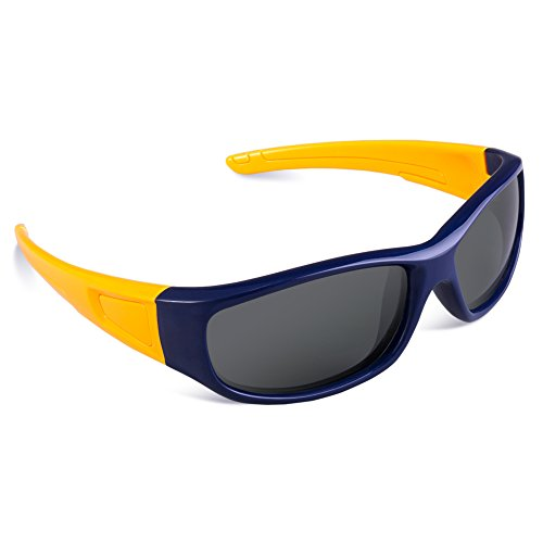 RIVBOS Rubber Flexible Kids Polarized Sunglasses Glasses for Baby and Children Age 3-10 (Mirrored Lens Available) RBK037(Navy Blue,Black Polarized - Cloud Sunglasses 9