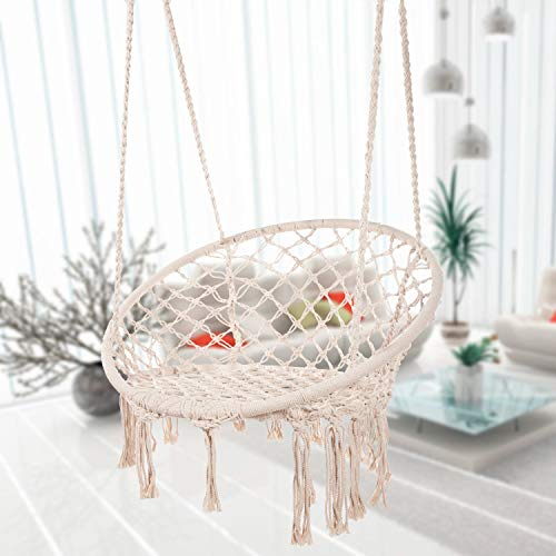 Bormart Hammock Chair Macrame Swing, Hanging Lounge Mesh Chair Durable Cotton Rope Swing for Bedroom, Patio, Garden, Deck, Yard, Max Capacity 265 Lbs (Beige)