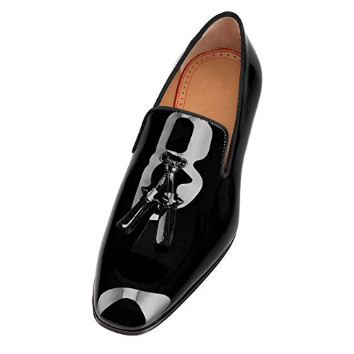 Cuckoo Patent Leather Dress Shoes Black Loafers With Tassels Black OTXtTXxdwr
