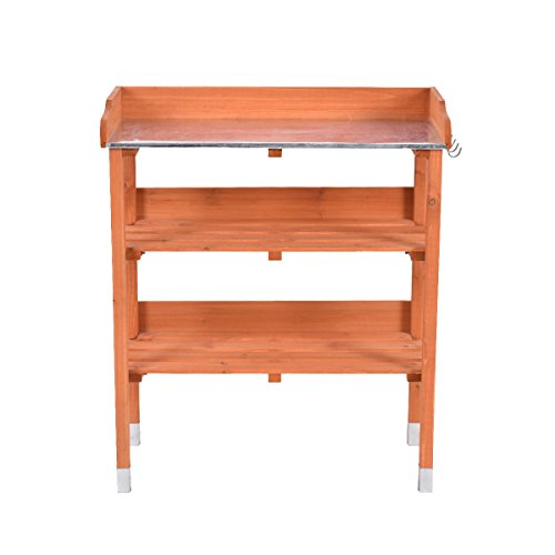 Heaven Tvcz Potting Bench Work Station Table Tool Storage Station Patio Shelf Garden Work Wooden Hook Outdoor by Heaven Tvcz (Image #9)