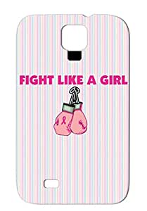 Fight Like A Girl Gloves Icons Pink Symbols Shapes Bca Boxing Breast Cancer Ribbon Case For Sumsang Galaxy S4 TPU Skid-proof