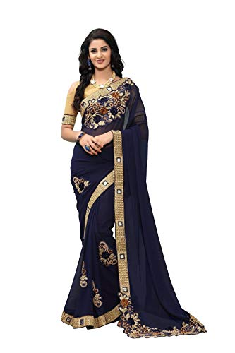 - Online Fayda Women's Georgette Saree With Blouse Piece (Of303_Navy Blue)