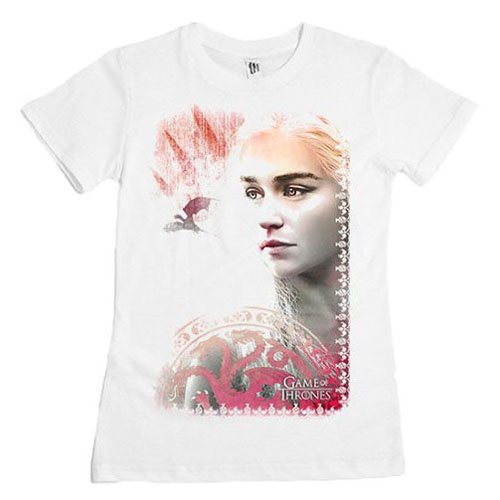 Courtes of Femme Coupe Thrones Manches Game Droite T Blanc Shirt qTx4a